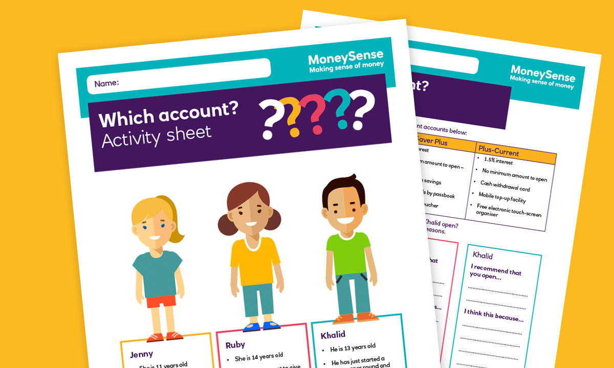 Activity sheet for How can I use a bank account?