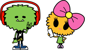 Green cartoon monster wearing red headphones and drumsticks and a cartoon girl with a bow on her head
