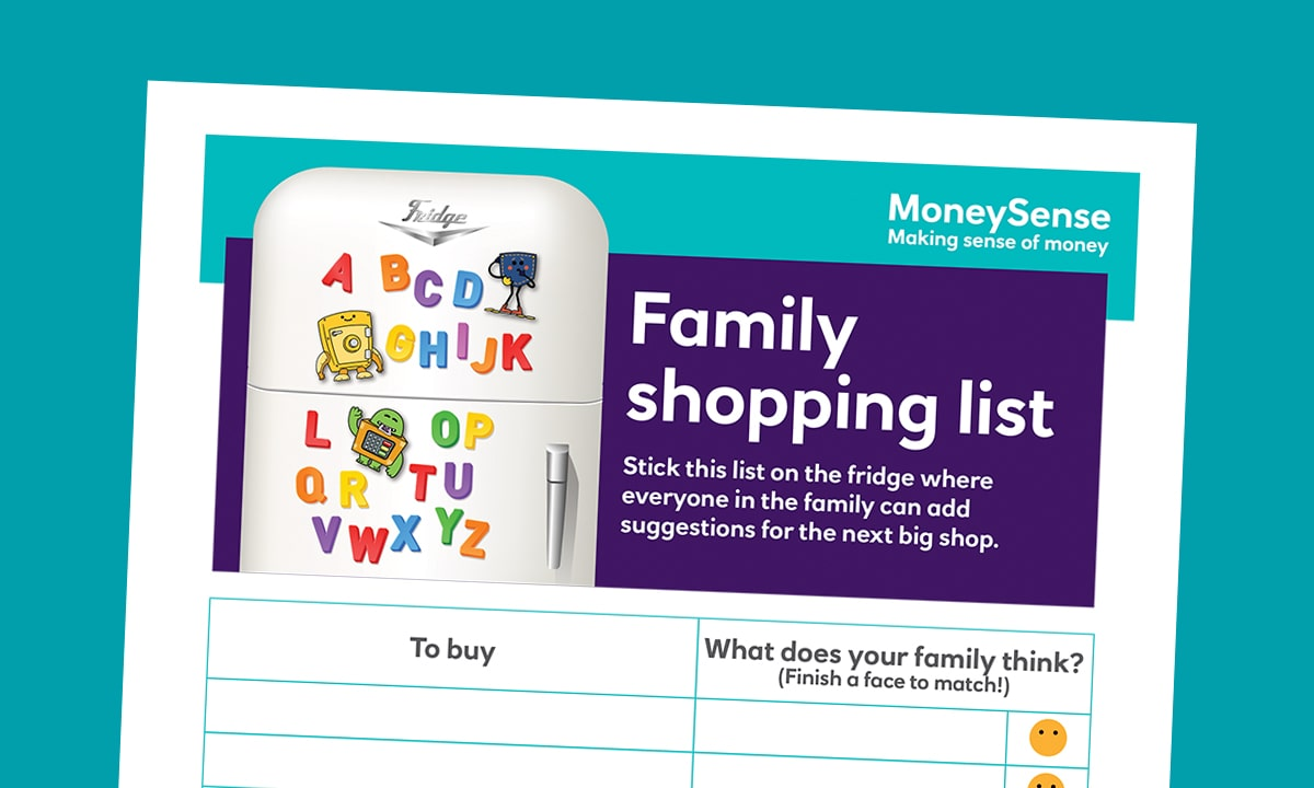Family shopping list poster