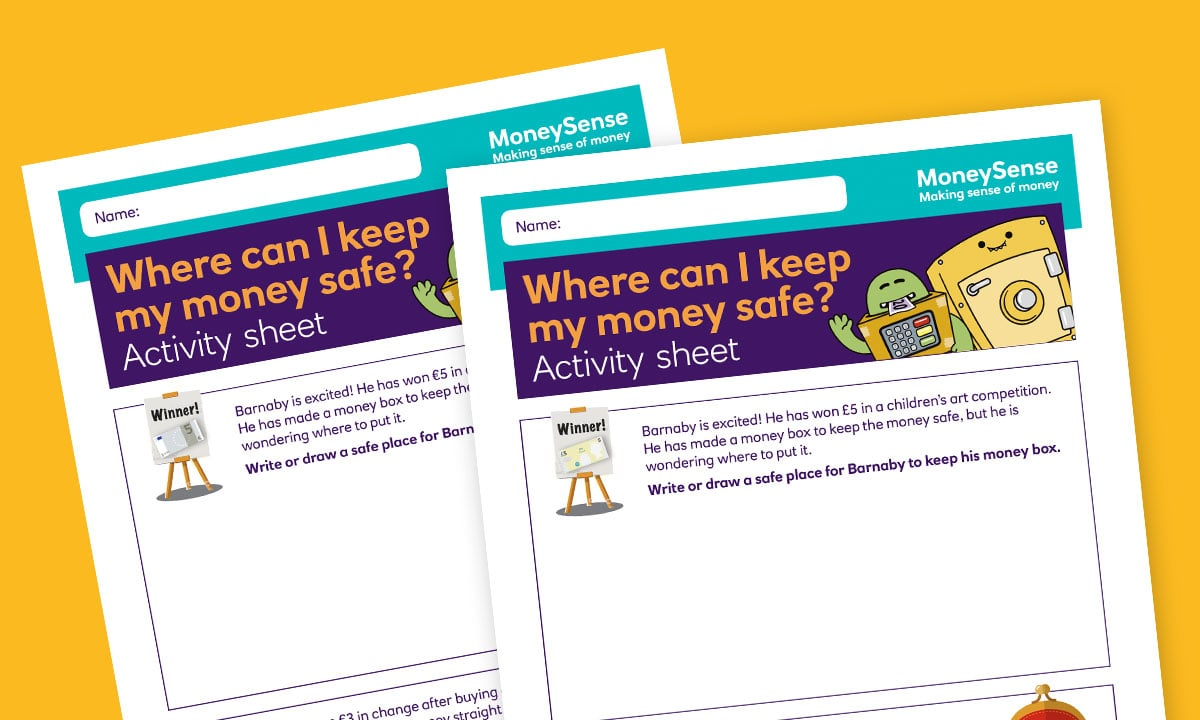 Activity sheet for Where can I keep my money safe?