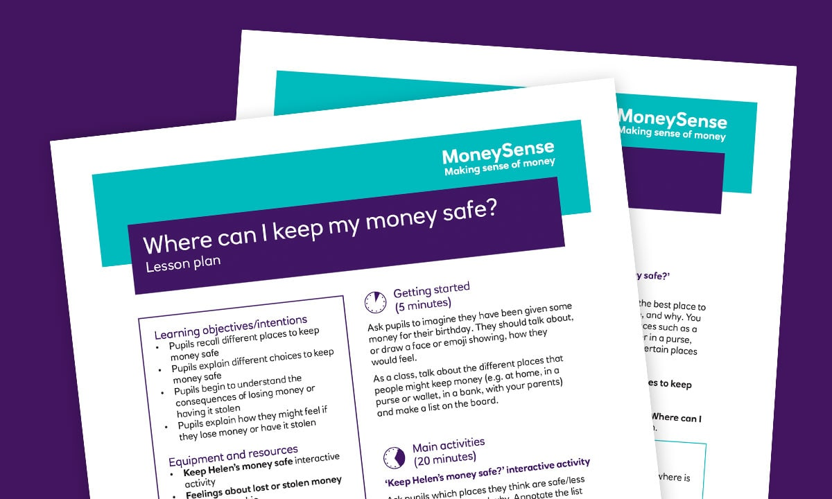 Lesson plan for Where can I keep my money safe?