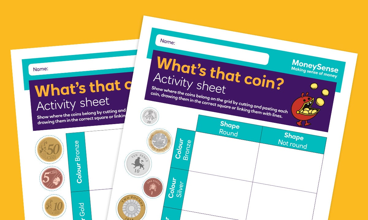 Activity sheet for What coins and notes do we use?