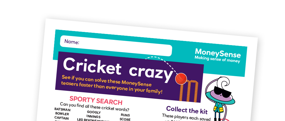 Cricket crazy puzzle sheet